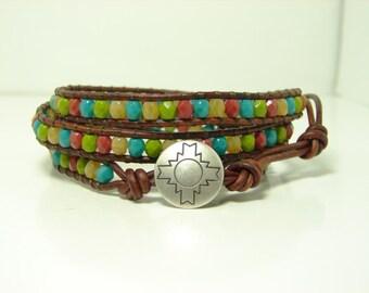 Multicolored Beaded Leather Wrap Bracelet, Triple Wrap Bracelet,  Mixed Colors  Wrap Bracelet
