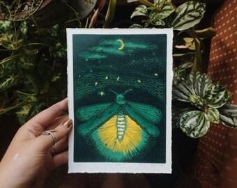 firefly woodblock print
