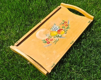 "1950s Wood Serving Tray with Hand Painted Fruit, Mid Century 18"" Wood Farmhouse Tray"