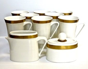 Ernest Sohn Creations Set of 9 Footed Cups, Creamer & Sugar, White with Gold Band Mid-Century Modern