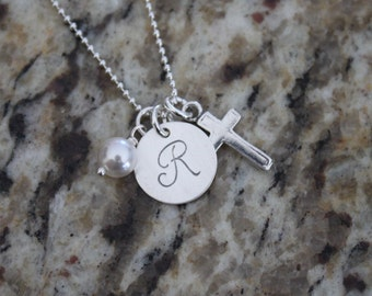 Custom Personalized Sterling Silver 925 Hand Stamped Initial Necklace with birthstone & Cross