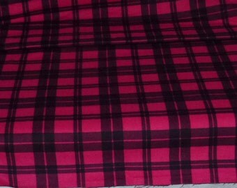 One Yard of Flannel Plaid Fabric  Red with Black Stripes by Peter Pan Fabrics, Inc.