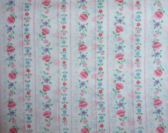 One Yard of  Vintage  Ticking Cotton Fabric with Roses