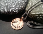 Beautiful hand stamped lucky penny necklace on stainless steel chain by D2E Gallery