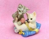 Vintage Franklin Mint Kittens Figurine  Playful Kittens, Cats, White Gray Kitten Figurine, Franklin Mint Collectible Rascals 1988 Epsteam