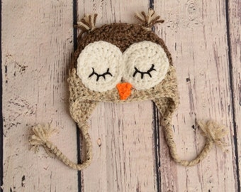 SALE! READY to SHIP! 0-3 Month Owl Crochet Hat, Bird Crochet Hat, Sleepy Owl Hat, Crochet Hat, Photography Prop, Baby Owl Hat