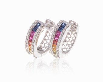 Multicolor Rainbow Sapphire & Diamond 18K Gold Earrings (2.39ct tw): SKU 14090