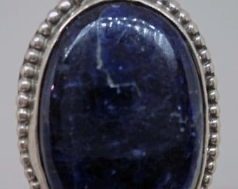 Dot Sterling Silver Bezel Lapis Luzuli Stone Pendant