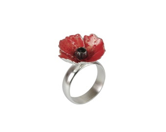 Red sterling silver poppy ring - small flower