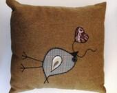 Golden Brown Wool Appliqued Bird Pillow