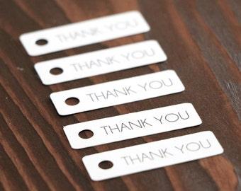 Thank You Gift Tags - White - Hang Tags. Wedding Favor Tags. Etsy Shop Supplies. Handmade Packaging. Small Tags.