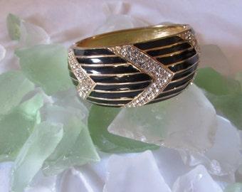 Clamper Bangle Bracelet Black Gold Rhinestones retro 80's