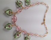 IBA Romantic HEART Necklace Art Glass and Vintage CZECH Glass