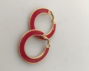 RED HOOP Earrings 1970s Vintage Hoops Red Enamel Hoop Earrings  Pierced Earrings Christmas Earrings Summer Earrings Never Worn Deadstock