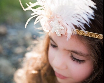 Brand New! Pink blush gold Starfish feather headband girl feather crown starfish headband with gold  or silver glitter band
