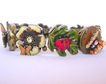 Ladybug Stretch Bracelet Vintage Butterflies Dragonflies Flowers Leaves Multi Color Enamel Rhinestones Antiqued Gold Tone Metal Dimensional