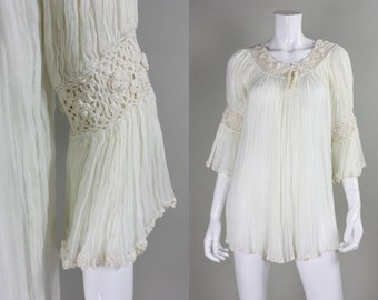 1970's Gauze Blouse with Crochet Detailing