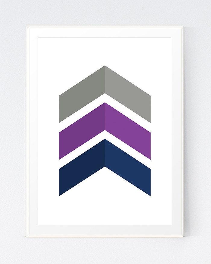 grey purple chevrons wall art purple blue decor blue grey. Black Bedroom Furniture Sets. Home Design Ideas