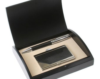 Customized Ultra-Modern Black Carbon Fiber Business Card Case and Pen Set