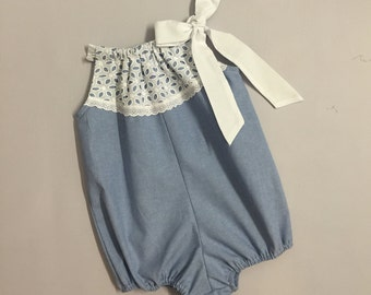 Denim Baby Romper with All Over Lace