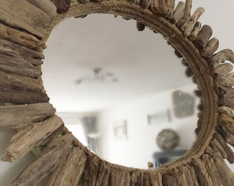 Driftwood Mirror, Wall Hanging Natural Isle of Wight Beach Home Decor Nautical Hand Made Shaby Chic