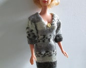 Barbie clothes - grey striped dress with three-quarter sleeves