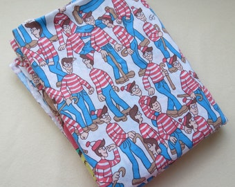 Where's Waldo Sheet - 1990s Vintage Childrens Sheet - Twin or Single Flat Sheet