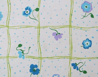 Half Yard of Vintage Sheet Fabric - Purple Blue Green Floral Plaid - 1/2 yd