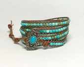 Turquoise Leather Wrap Bracelet - Turquoise Magnasite Stones, Light Brown Leather - Western Bohemian