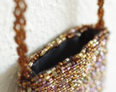 Vintage Small Beaded Purse Pouch w/ Long Crossbody Beaded Strap