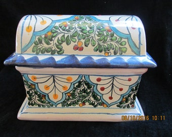 Large Mexican Talavera Terra Cotta Pottery Jewelry Box Chest Signed