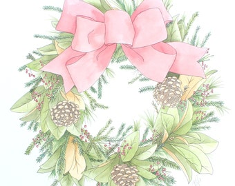 Original Christmas Wreath Watercolour on Stretched Paper