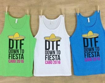 DTF Down To Fiesta // Bachelorette party shirts neon // Personalized Bachelorette Beach Tanks - Sets