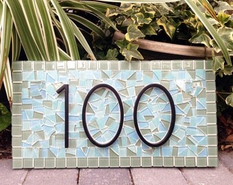 Address Sign in Green and Aqua, Mosaic Address Marker, Outdoor House Number Sign