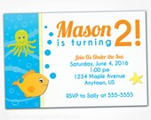 Under the Sea Invitation Printable - 2nd 1st Birthday Invites - Pool Party Fish Ocean Theme