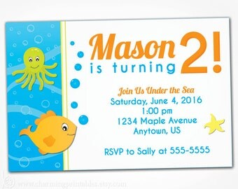 Under the Sea Birthday Invitation Printable - 2nd 1st Birthday Invites - Pool Party Fish Ocean Theme