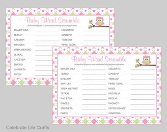 Baby Shower Word Scramble Game & Answer Key - Printable Baby Shower Games - Baby Girl Shower - Pink Green Owl Baby Shower Theme - B2010