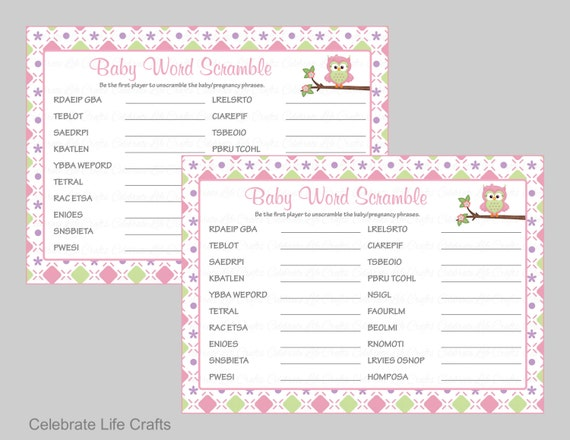 photo about Free Printable Baby Shower Games Word Scramble With Answer Key named Options Toward Child Shower Term Scramble - Little one Shower Invites