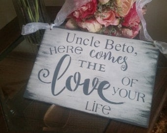 Gray and White WEDDING/Here Comes The Bride Sign/Wood Sign/Here comes the love of your life/plum eggplant/custom made  uncle personalized