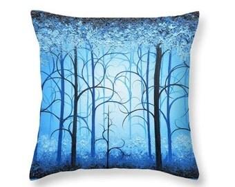 Blue Pillow, Whimsical Woodland Art, Decorative Pillow, Blue Art Home Decor, Forest Art Accent Pillow, Nature Art Throw Pillow, Sofa Pillow