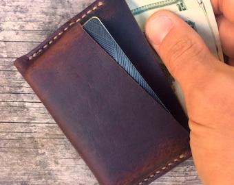 Minimalist leather wallet / Mens wallet / Brown full grain leather / The Polk