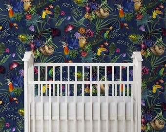 Animal Themed Kids Tropical Exotic Design Wallpaper, Bold Home Décor, Feature Wall