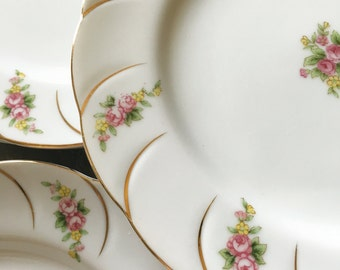 """Set of 8 Matching Vintage China Dessert Appetizer 8"""" Plates Shower Wedding Special occasion"""