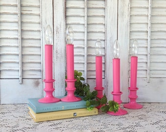5 Pink Candeliers - Flameless Candlesticks - Battery Operated Lights
