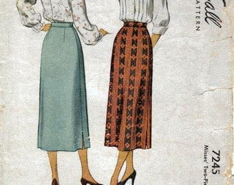Misses Midi Calf Length A-Line Skirt with Side Vent Vintage Sewing Pattern McCall 7245 Waist 26 Hip 35