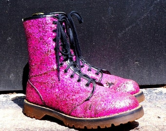 Pretty in Pink Punk 1990s Vintage Magenta Glitter Dr Martens Boots UK 7 Sparking Skull Crushers Air Cushion Soles 10 Eye Glam Goth Grunge Oi