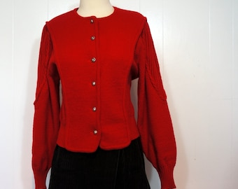 Red Cardigan Deans of Scotland MEDIUM LARGE Mixed Knit Boiled Wool 1970s Vintage Sweater Fall / Autumn to Winter Outerwear New England Prep