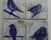 Cheeky Sparrows Colection Origanal Artwork Ink on Canvas and Vintage Map on Canvas