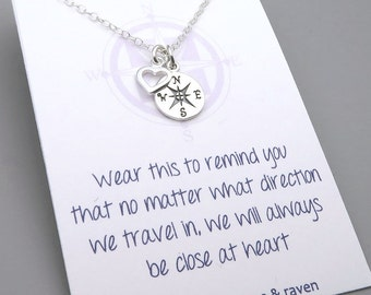 Best Friends Compass Necklace - message card - silver compass travel jewelry - friends close at heart - enjoy the journey - graduation gift