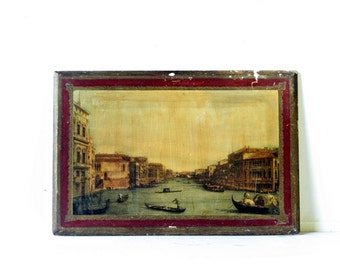 Two Vintage Florentine Wall Plaques - Landscape Scenes of Venice, 17x12 Chippy Shabby Chic Red Gold Home Decor, Made in Italy, Rustic Wood